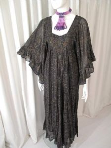 1970's Gold spot print muslin vintage hippy dress by Ayesha Davar London **SOLD**
